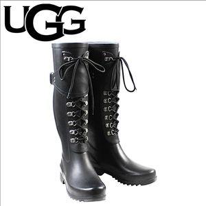 UGG Madelynn Black Rubber Rain Boots